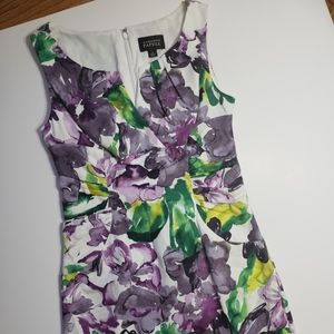 Adrianna Papell Floral Watercolor Fitted Dress